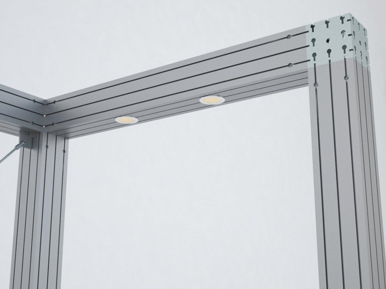 O M2160 é um perfil de alumínio que permite embutir a iluminação na estrutura de stands, lojas, showrooms e quiosques.