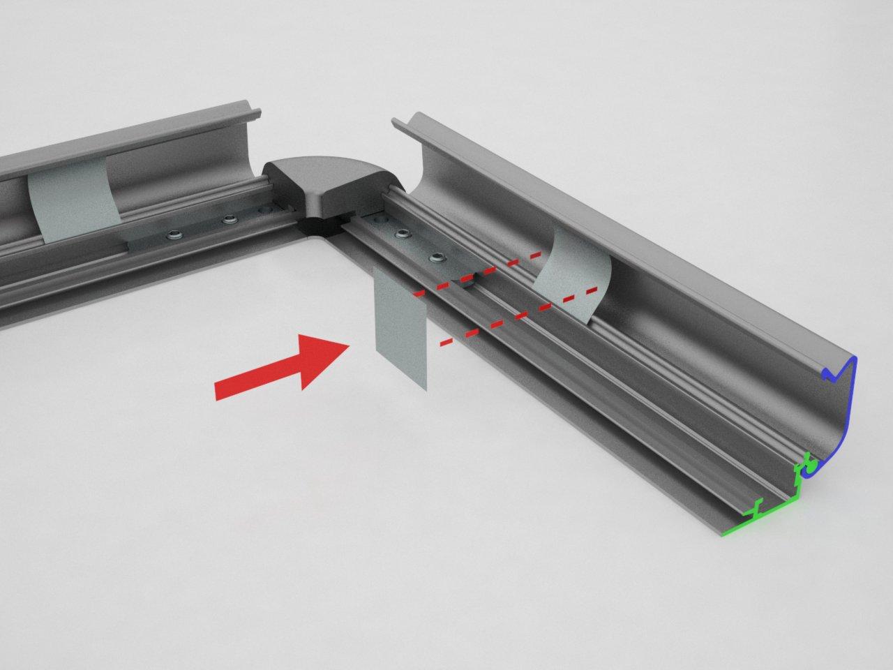 Detalhe da posição de encaixe da mola de pressão na moldura click