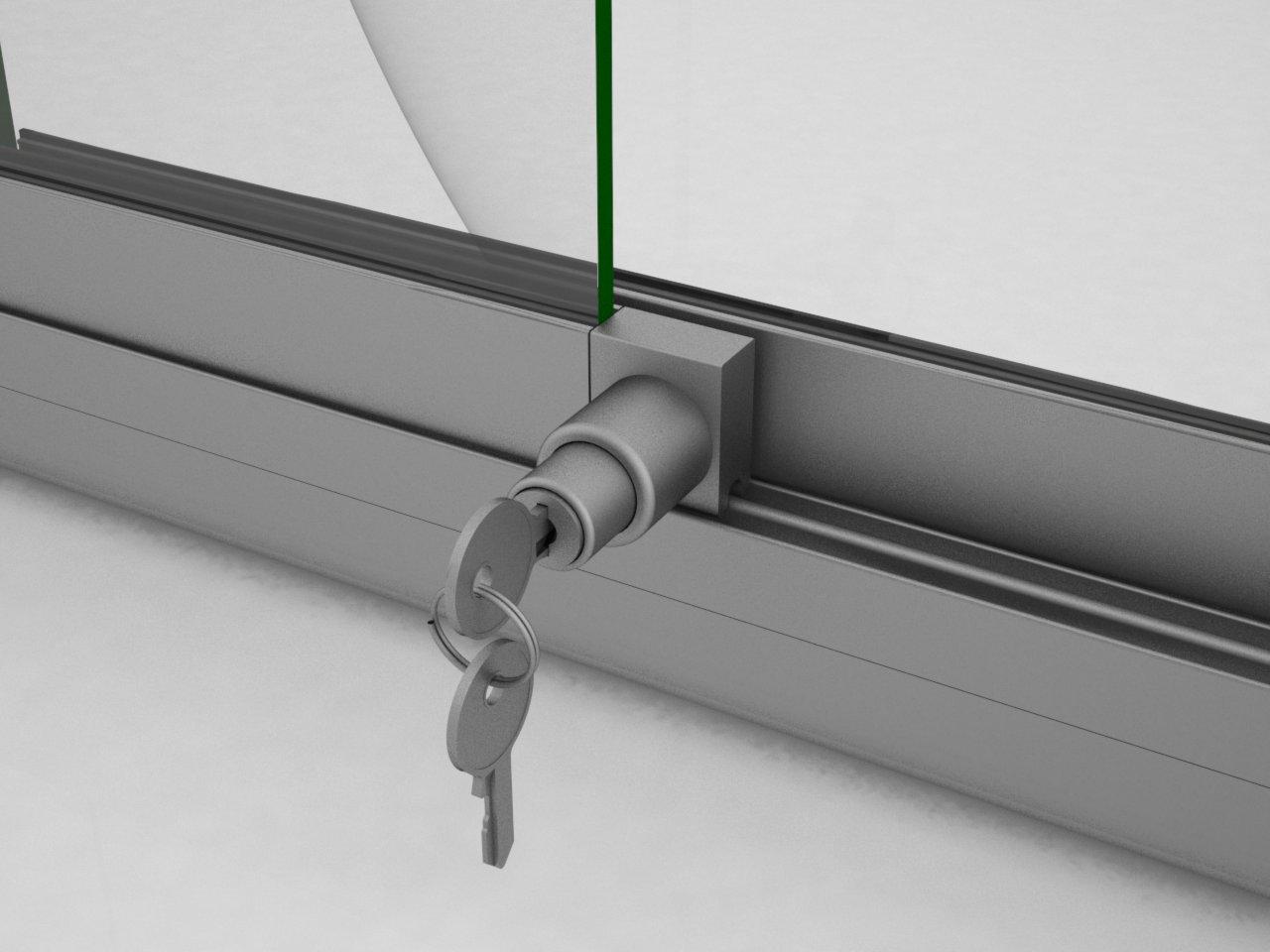 Detalhe da fechadura P110 para porta de correr de vidro para vitrines