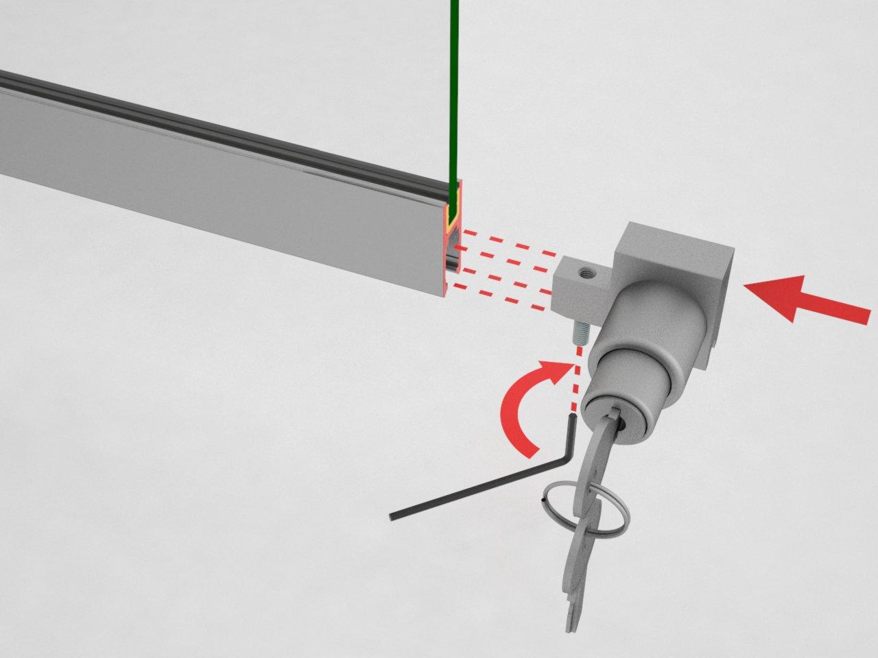 Detalhe de montagem da fechadura P110 ao trilho de alumínio para porta de correr de vidro para vitrines