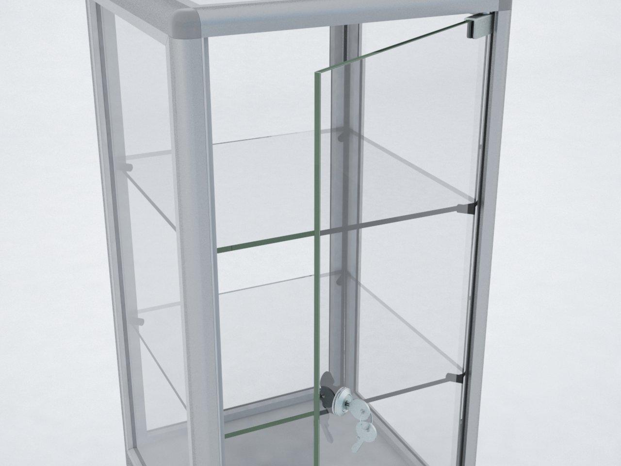 Detalhe da porta articulada para vitrine em vidro fixada aos perfis de alumínio do Sistema Pedrosa