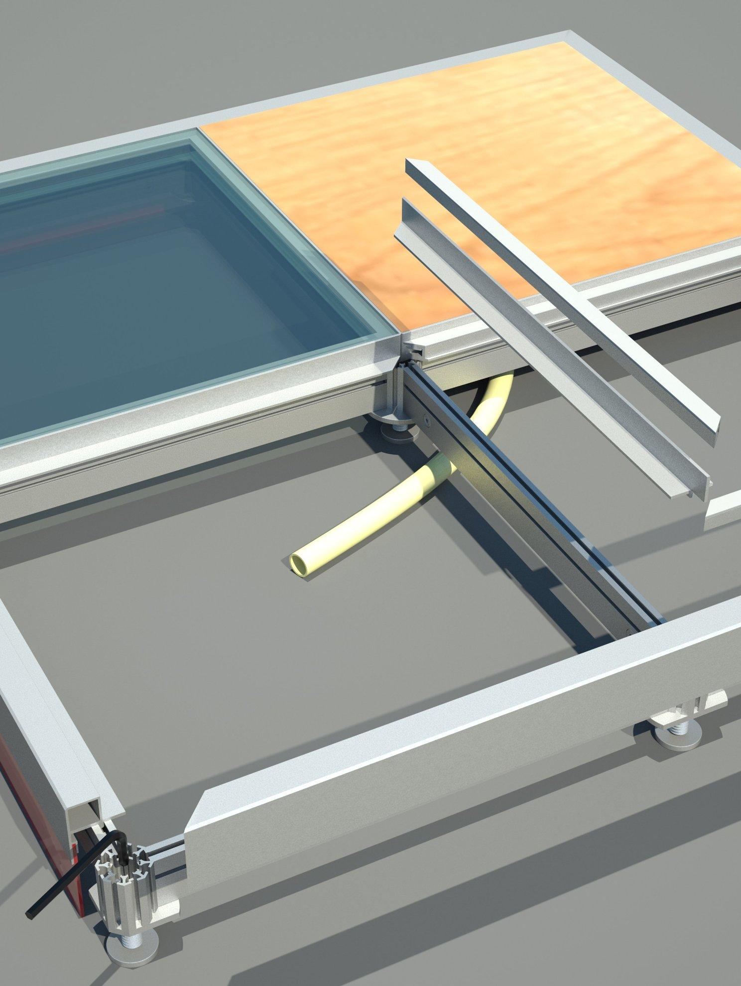 piso elevado vidro estrutura alumínio regulagem altura stands lojas quiosques shopping aeroporto rampa octanorm