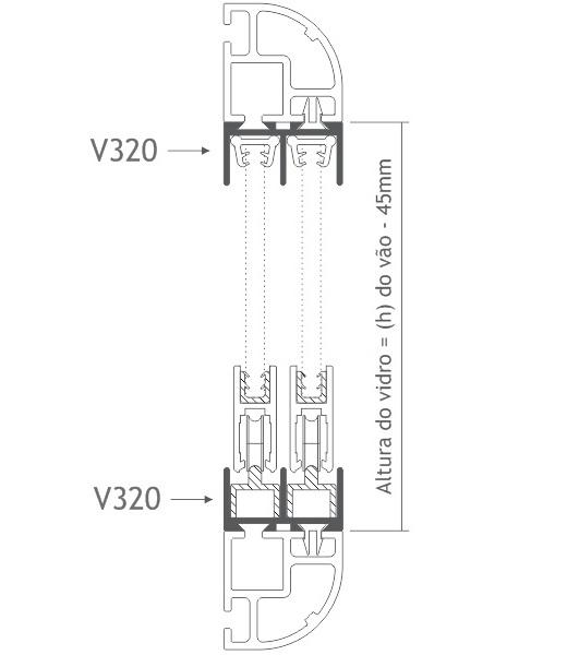 V320 perfil de alumínio trilho porta correr vitrine
