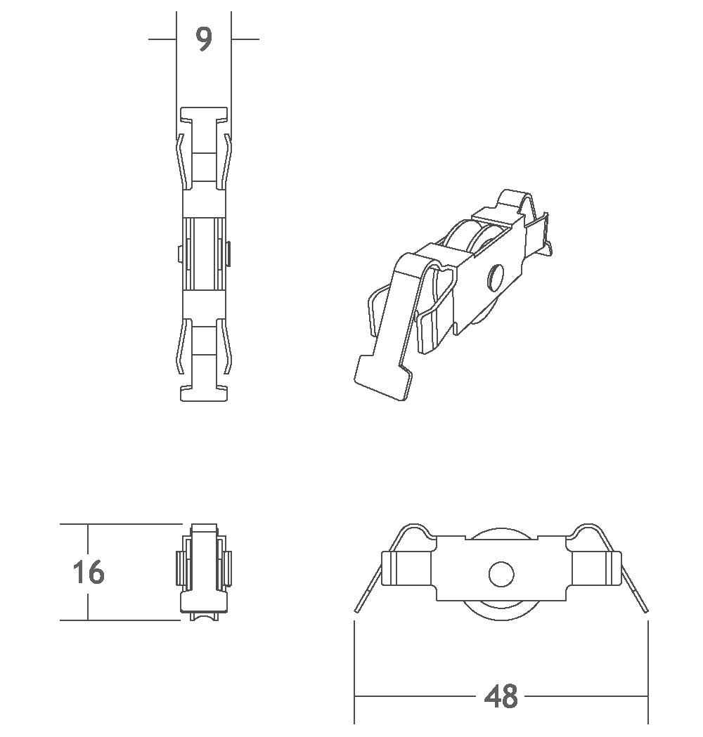 V324 rolamento deslizador perfil de alumínio trilho porta correr vitrine vidro