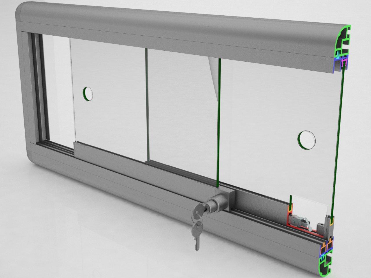 Visão geral dos componentes do sistema de porta de correr para vitrines e móveis