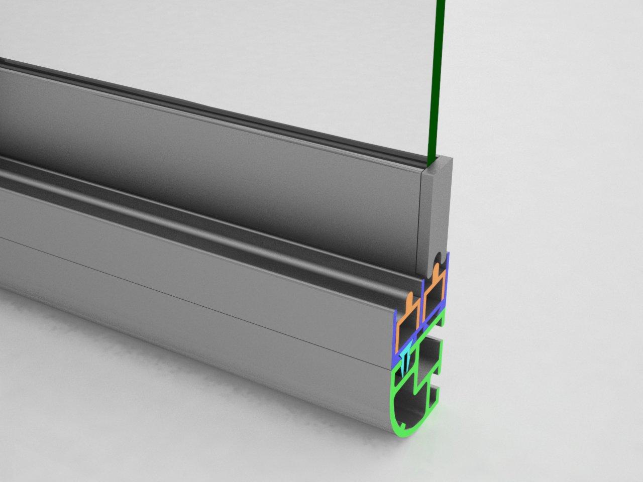 Encaixe do terminal V325 no topo do perfil da folha da porta V323