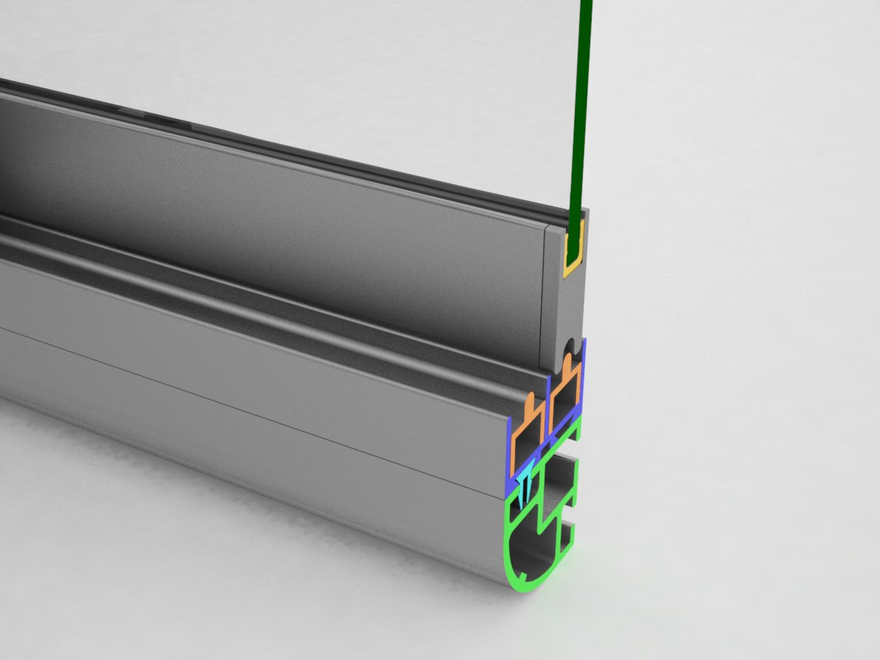 Encaixe do terminal V325A no topo do perfil da folha da porta V323