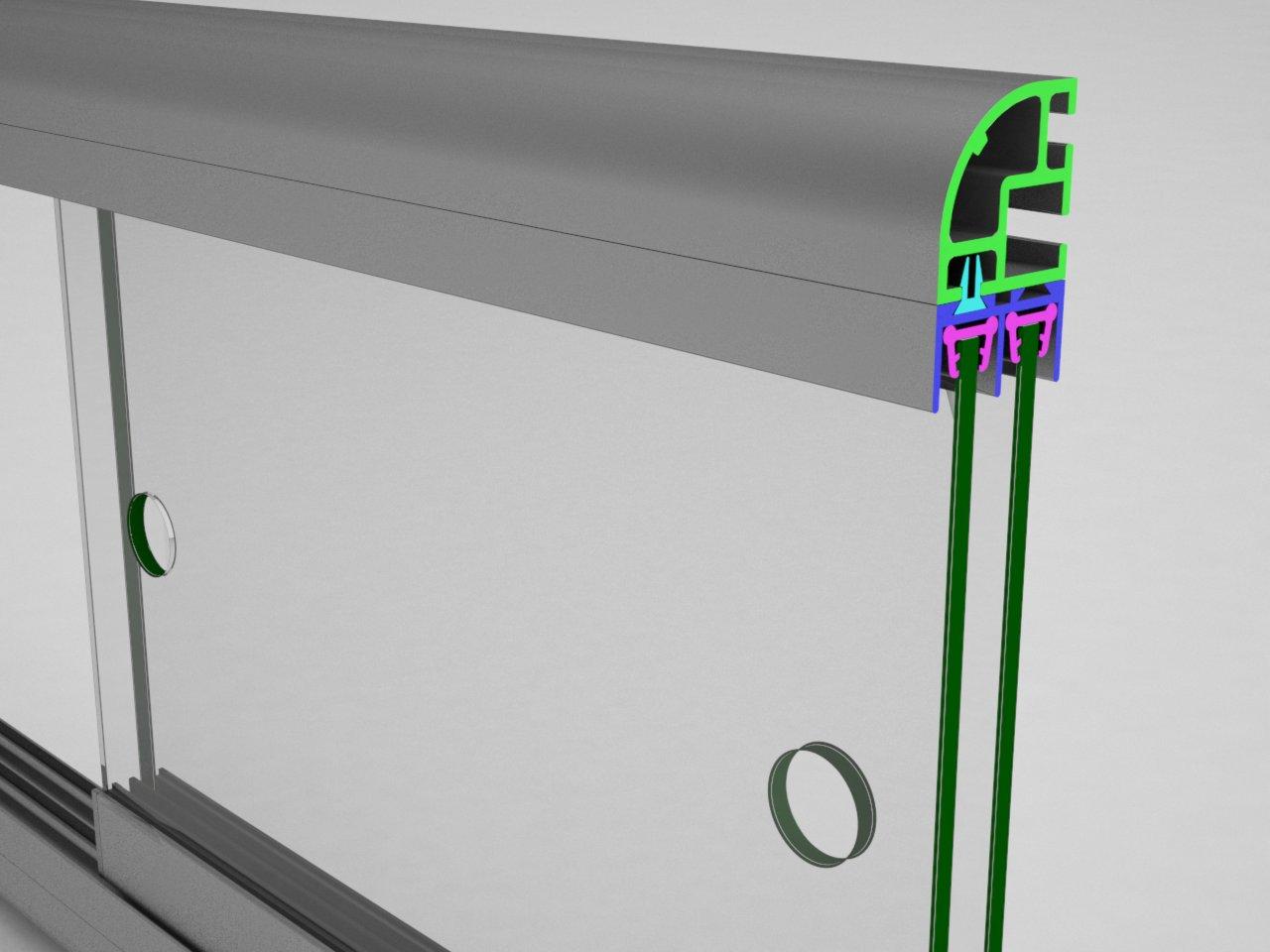 Detalhe completo das folhas da porta de correr com a guia superior V326 inserida no trilho superior V320