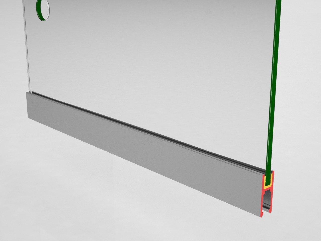 Detalhe do encaixe do perfil V327 para adaptação e proteção do vidro no sistema de porta de correr