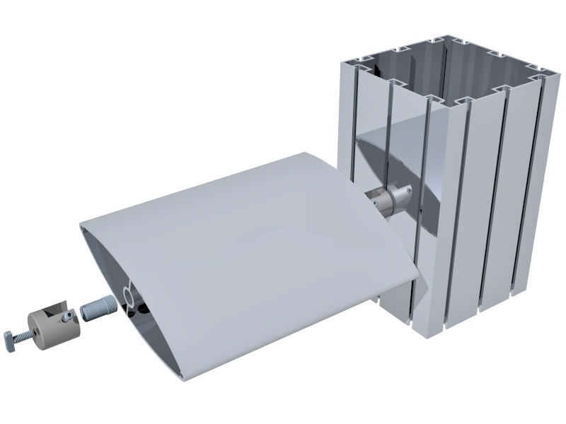 Perfis de alumínio para montagem de stands em feiras e eventos. Perfil quadrado M2120 e brise M2170.