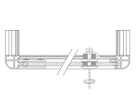 Detalhe da porta para vitrine com o batente A906 fixado ao perfil C100 para fechamento com a fechadura P140 e a dobradiça P230
