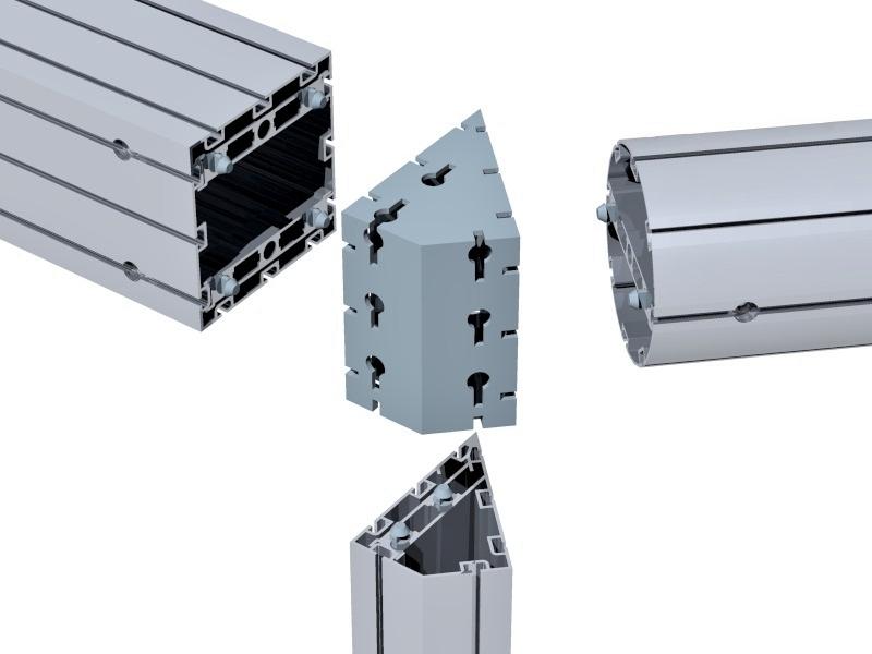 Perfis de alumínio para montagem de stands em feiras e eventos. Perfil quadrado M2120, triangular M2150 e conexão M2350.