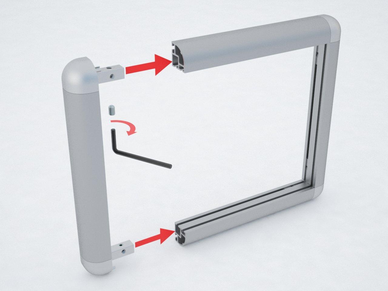 Detalhe da montagem da conexão C551 com o perfil de alumínio C550 para formar estruturas para painéis, molduras, móveis, vitrines, e outras finalidades