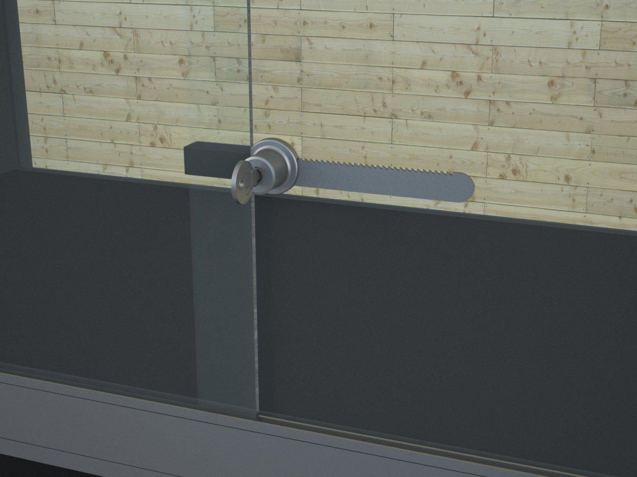 Detalhe de porta de correr com a fechadura jacaré P250