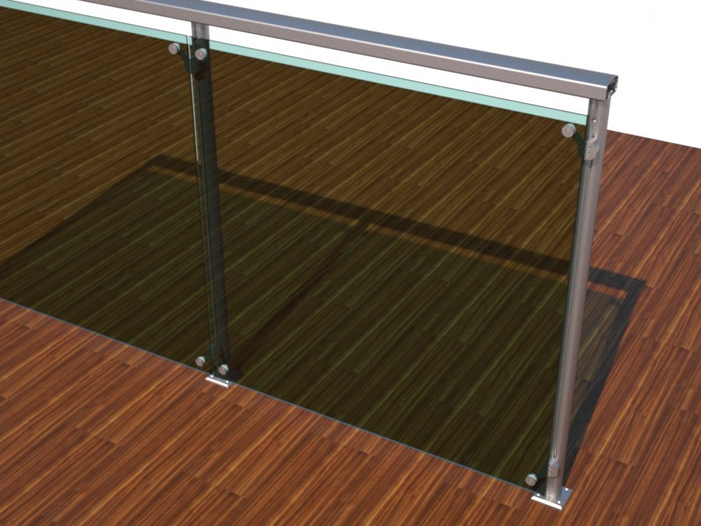 Guarda-corpo em perfis de alumínio com vidros fixados por spiders e corrimão M2700 na parte superior. Ideal para stands, quiosques e outros ambientes promocionais internos.