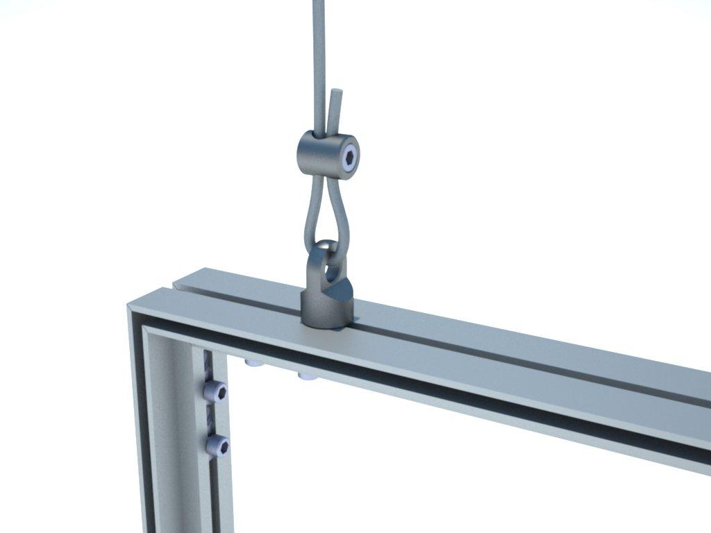 Olhal para suspensão de estruturas de alumínio em stands ou placas de sinalização para comunicação visual