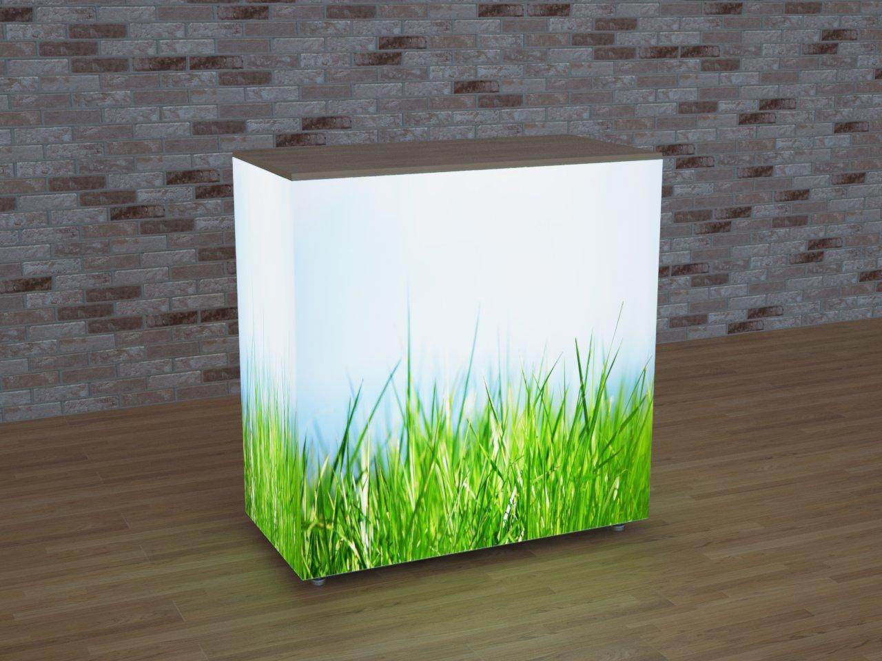 Balcão promocional em alumínio, retroiluminado com LEDs e imagem impressa em tecido