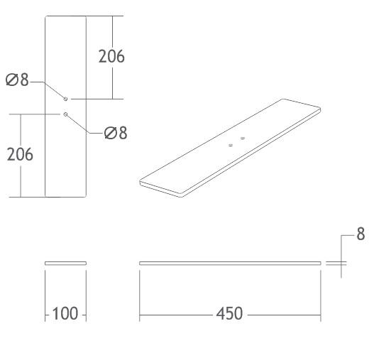 base retangular prata 450mm display alumínio