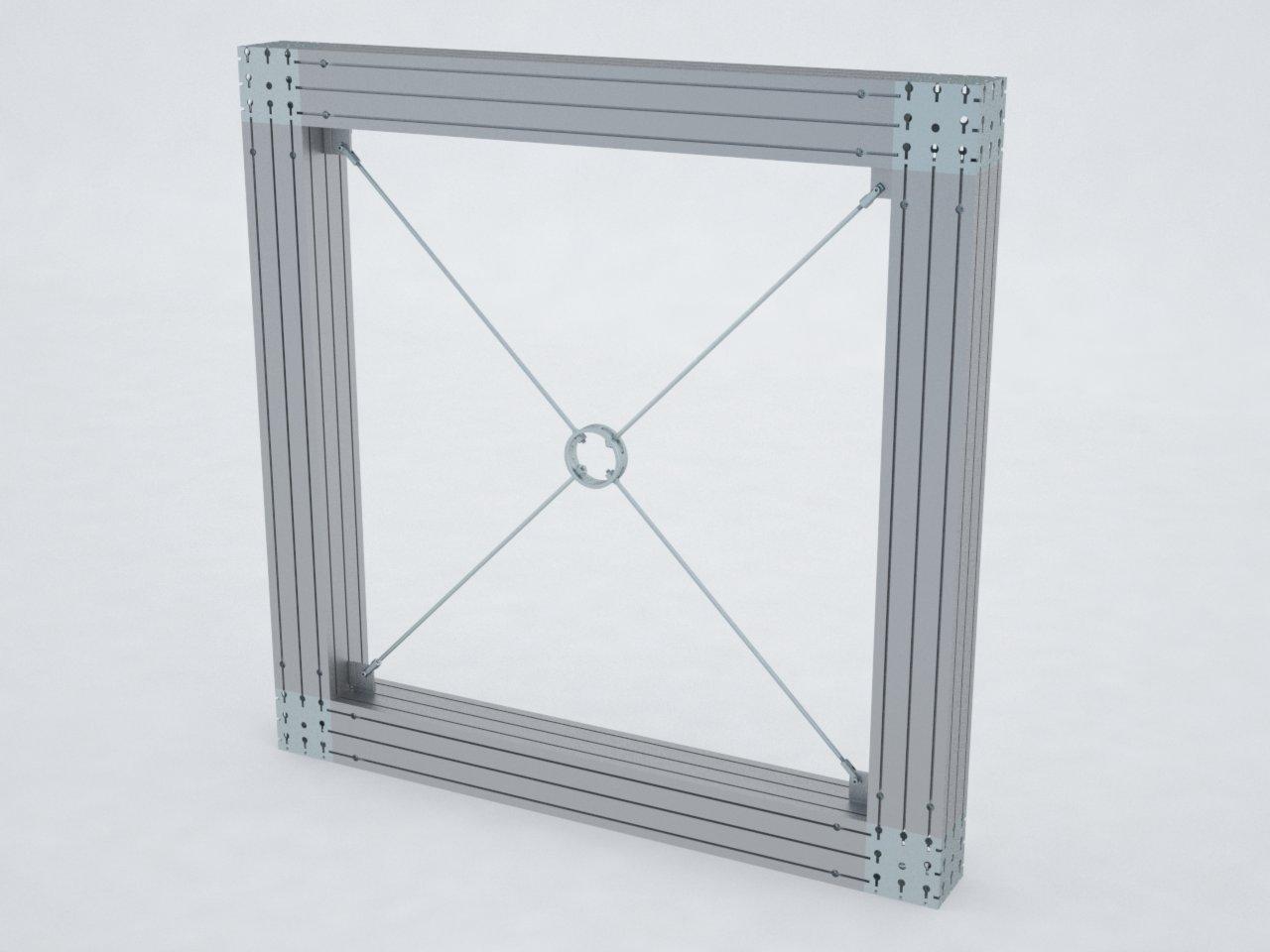 Conjunto de tirante de aço para reforço de vãos montados com perfis de alumínio da Linha Multi