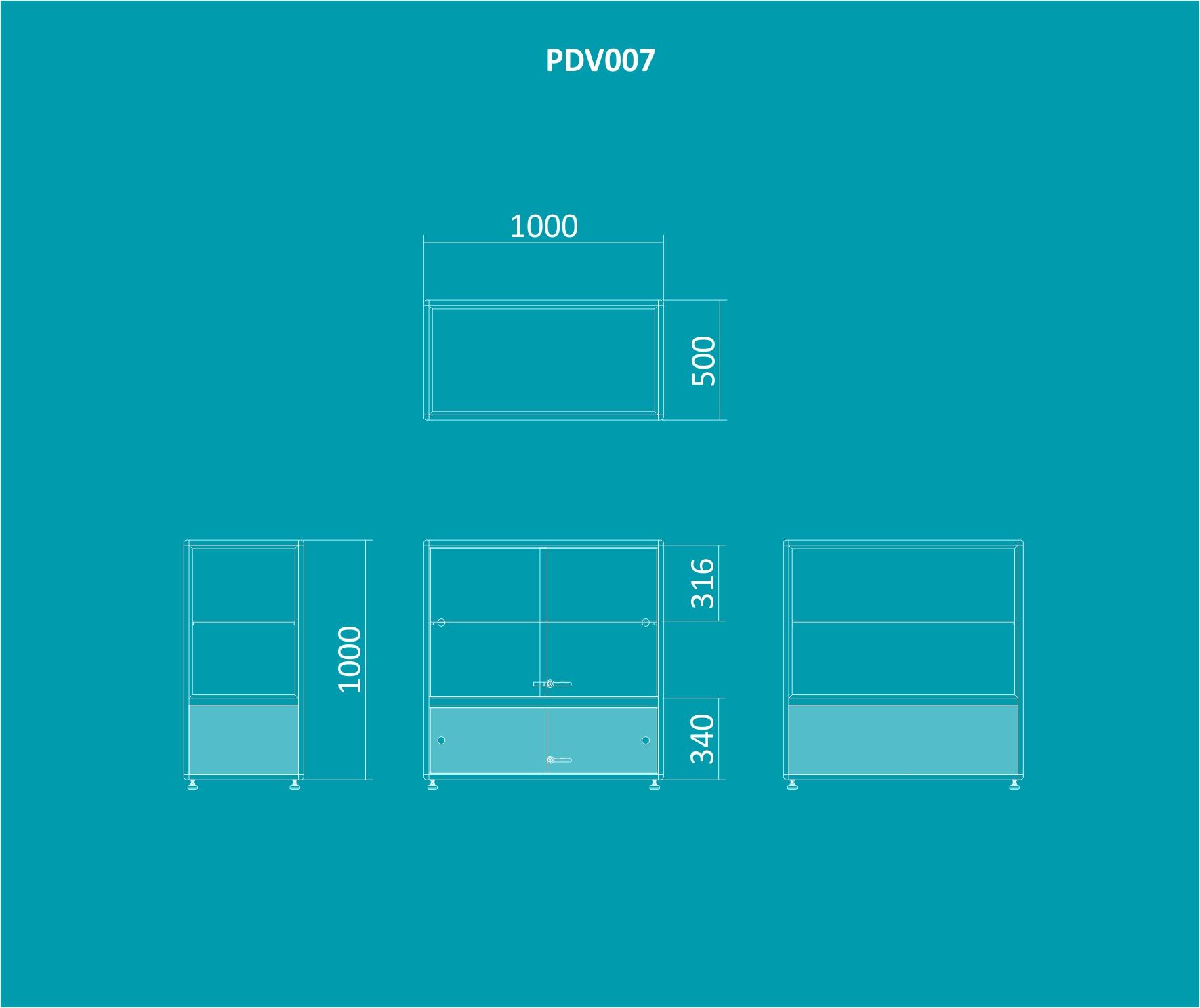 PDV 007 - Balcão expositor 1000mm de altura