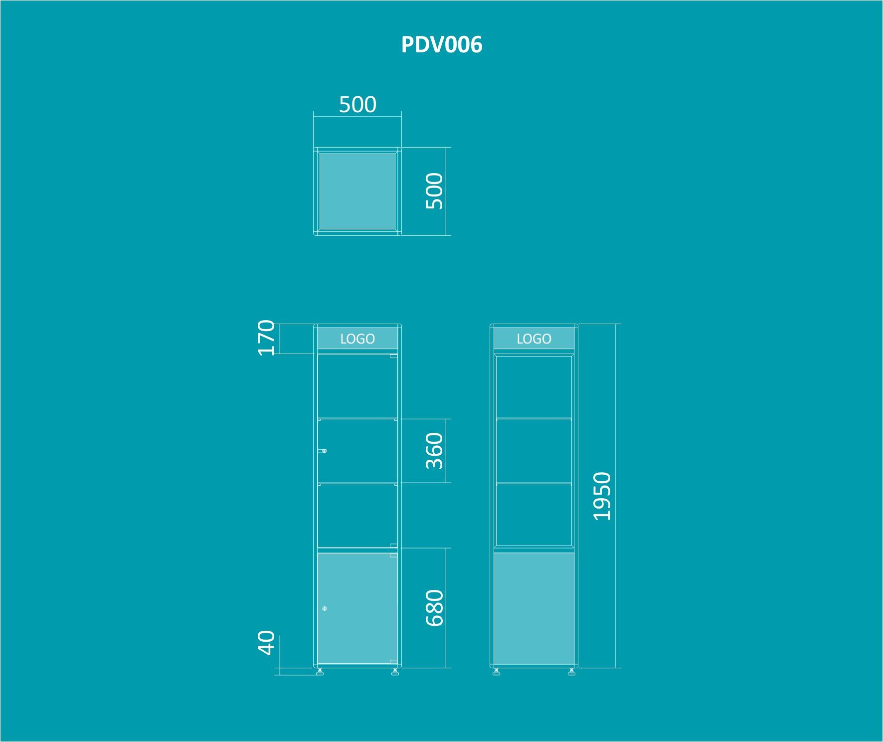 PDV 006 - Vitrine torre 1950mm de altura