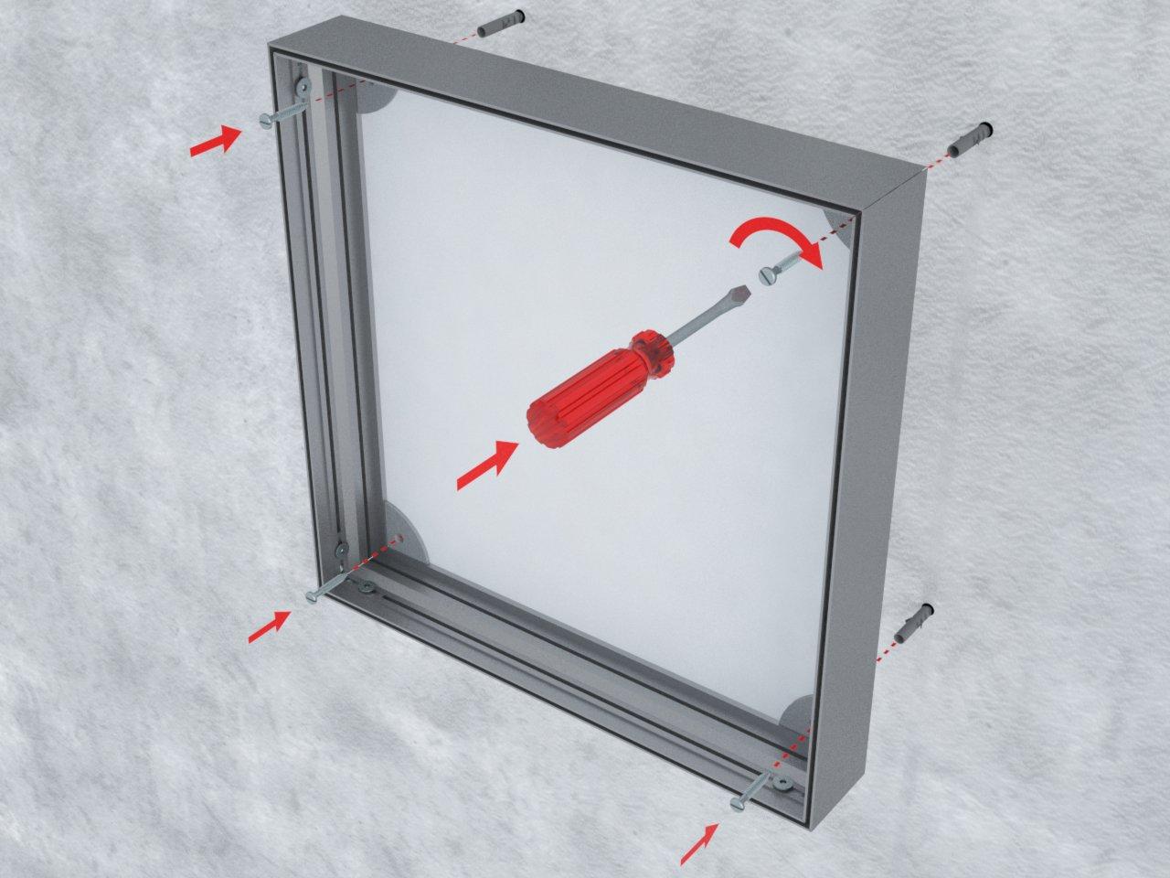 Detalhe de uso dos perfis de alumínio H220 para formar backlight de tecido ou lona tensionados em uma face